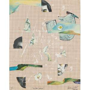 """BENÉ FONTELES - """"Quebra cabeça"""" - Técnica mista e colagem sobre papel milimitrado -Ass.dat.1979 inf. dir. tit. no centro inf. - 28 x 22 cm"""