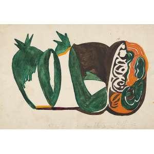 """ANNA BELLA GEIGER - """"Fruto I"""" - Guache sobre Papel - Ass. tit. dat.1972 inf. dir. - 33 x 47 cm - Desenho original para serigrafia editada pela KOMPASS - Escritório de arte que pertenceu ao crítico de arte Harry Laus – SP - 1970/1974."""