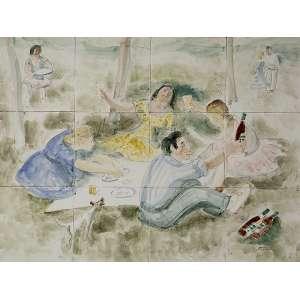 "OSIRATE - EX. VOLPI E ZANINI - ""Pic-Nic"" - Pintura sobre azulejo - Ass.inf.esq. - 45 x 60 cm"