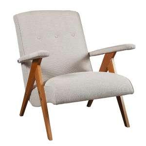 JOSÉ ZANINE CALDAS - Fábrica de Móveis Z - Cadeira de braços, estrutura de pau marfim, assento e encosto estofado- Brasil c. 1950. - 70 x 68 x 74 cm