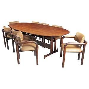 ARTISTA DESCONHECIDO - Mesa em jacarandá e tampo de vidro com 08 cadeiras estofado em couro e madeira mista - 75 x 238 x 12 cm.