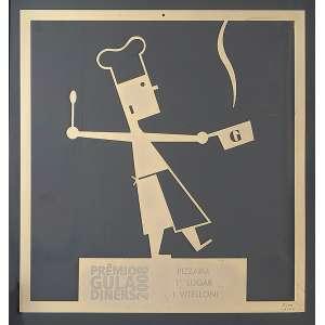 "GUTO LACAZ - ""Premio Gula Diners 2008"" - Pizzaria -1º Lugar IVITELLONI - Metal sobre cartão colorido - Ass. inf. dir. - 31 x 30 cm"