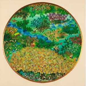 """IRACEMA ARDITI - """"Mil flores""""- Óleo sobre tela - Ass.dat.1985 no centro inf., ass.tit.dat. no verso. - 30 cm de diâmetro"""