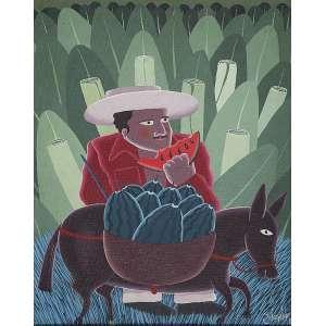 """IVONALDO - """"Vendedor de melancia"""" - Óleo sobre tela. Ass.dat.1985 inf. dir. - 50 x 40 cm - Reproduzido na pág. enciclopédia do Itaú Cultural."""