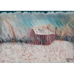 "JOSÉ ANTÔNIO DA SILVA - ""Tempestade"" - Óleo sobre tela - Ass.dat.1980 no inf.dir, Ass.dat. no verso. - 50 x 70 cm"