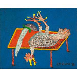 "JOSÉ ANTÔNIO DA SILVA - ""Galinha sobre a mesa"" -Óleo sobre tela - Ass.dat.1978 no inf.dir, Ass.dat. no centro, Ass.dat. no verso. - 40 x 50 cm"