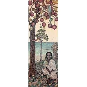 """ROBERTO FRANCO - """"Flora"""" - Desenho a lápis de cor - Ass.dat.1978 inf. dir., tit. loc. """"Salvador"""" centro inf. - 102 x 38 cm"""