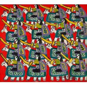 """ANTÔNIO POTEIRO - """"Cavalhada""""- Óleo sobre tela - Ass.dat.1994 inf. dir. - 45 x 50 cm"""