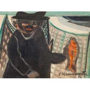 """DI CAVALCANTI - """"Pescador"""" - Óleo sobre tela - Ass.dat.1973 inf.dir. 46 x 61 cm.Reproduzido no catálogo de exposição """"Obras Recentes"""" realizada em 1974 na Bolsa de Arte Rio de Janeiro."""