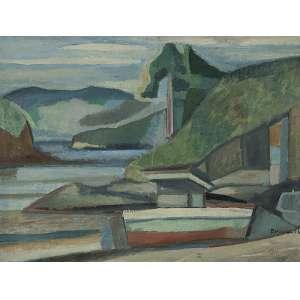 ALDO BONADEI - Paisagem com barco - Óleo sobre tela - Ass.dat.1956 inf.dir. 59 x 78 cm.
