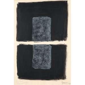 """TOMIE OHTAKE - """"Sem título"""" - Guache e nanquim sobre papel - Ass.dat.1967 inf. dir,com dedicatória para Leonor inf. esq. 46 x 31 cm - Registrado no Projeto Tomie Ohtake."""