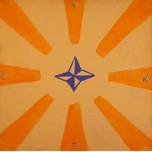 "EMANUEL NASSAR - ""Estrela"" - Pintura sobre madeira, metal - Ass.dat. 1987na tela. 100 x 100 cm. 100 x 100 cm"