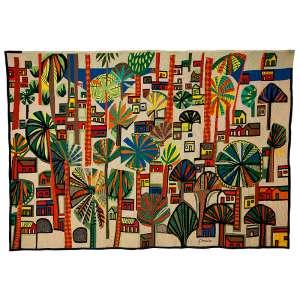 """GENARO DE CARVALHO - """"Paisagem"""" - Tapeçaria - Ass. inf. dir. 137 x 193 cm"""