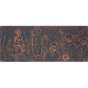 """OSWALDO GOELDI - """"Figuras"""" -Matriz de xilogravura -Ass.dat.1967 inf.dir. 24 x 10 cm. Ex.Coleção Carlos Scliar.<br />Com dedicatória no verso."""