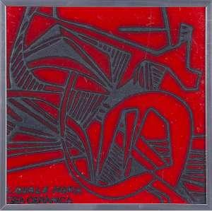 "ROBERTO BURLE MARX - ""Sem título"" - Pintura sobre cerâmica -Ass.inf.esq. 20 x 20 cm"