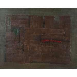 """IVAN DE FREITAS - """"Construção sob sombra"""" - Óleo sobre tela - Ass. inf. dir., ass.tit.dat.1960 no verso. 73 x 92 cm - Com etiqueta e carimbo do Salão Nacional de Arte Moderna."""
