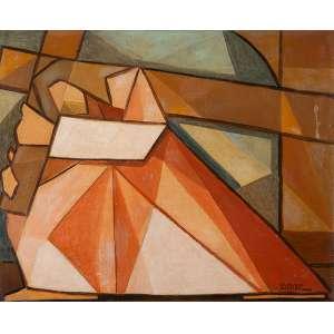 """RAIMUNDO DE OLIVEIRA - """"Cristo com a cruz"""" - Óleo sobre tela - Ass.dat.1955 inf. dir., Ass.tit.dat. no verso. 60 x 73 cm"""