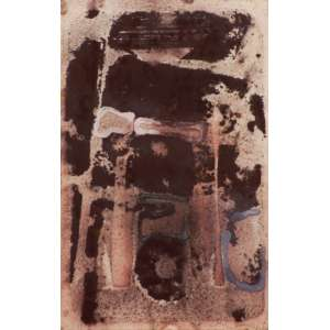Carlos Vergara<br>Sem título - pigmentos naturais sobre papel artesanal <br>2001/2003 - 50 x 30 <br>Etiqueta da Galeria Márcia Barroso do Amaral