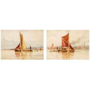 Edoardo de Martino - Chulapa no porto - par de aquarelas - 1883 - 9 x 12 - 9 x 12