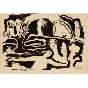 Tarsila do Amaral - Casal na água - desenho a nanquim - 1940 - 23 x 29 - Etiqueta da Galeria Grifo Reproduzida no livro Tarsila do Amaral de Aracy Amaral, à pág. 137