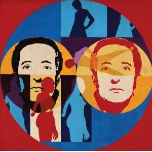 Décio Noviello - Pintura IV - ast (liquitex) - 1969 - 100 x 100 - Reproduzida na capa do livro Décio Noviello - Circuito Atelier - editora c/Arte - Etiqueta de participação na Bienal de São Paulo