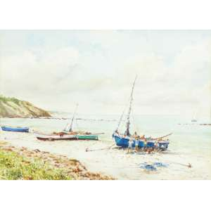 Mário Bhering<br>Pescadores - Pipa-Rio Grande do Norte - aquarela <br> 1995 -36 x 50
