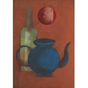 Carlos Scliar<br>Bule azul - vestse <br> 1983 -37 x 26<br>Galeria Tina Zappoli