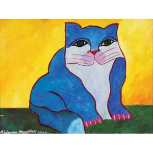 Aldemir Martins<br>Gato azul - ast <br> 2002 -30 x 40