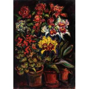 Sérgio Telles<br>Vasos com Flores - ost <br> 2009 -92 x 65