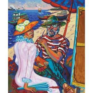 Inimá de Paula<br>Homenagem a Manet - ost <br> 1984 -140 x 110 <br>Registrada na Fundação Inimá de Paula. Reproduzida à pág. 6 no livro Inimá - edição comemorativa dos 70 anos do pintor - Frederico Moraes.