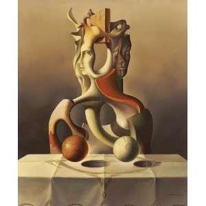 Vito Campanella<br>Retrato metafísico - ost <br> 1976 -60 x 50<br>Etiqueta da Galeria Guignard