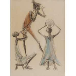 Bianco<br>Músicos - pastel oleoso sobre cartão <br> 1961 -95 x 70<br>Reproduzida no livro do artista