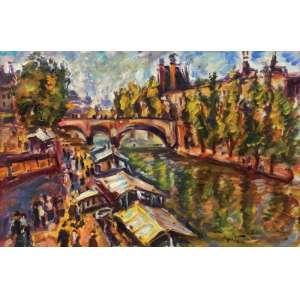 Sérgio Telles<br>Le Louvre et Péniches - ostse <br> 2009 -40 x 60