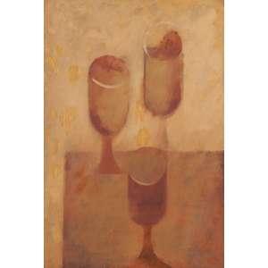 Carlos Scliar<br>Três taças - guache encerado sobre cartão sobre eucatex <br> 1963 -55 x 37