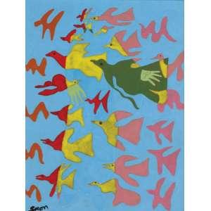 Siron Franco<br>Passáros - pintura sobre cerâmica <br> 40 x 30