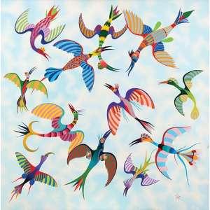 """Roberto Magalhães<br>Pássaros - ost <br> 2000 -120 x 120<br>Reproduzida no catálogo da exposição """"Universo de Roberto Magalhães"""" - Realizada na galeria Murilo de Castro"""
