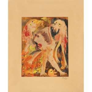Ivan Serpa<br>Sem título - aquarela s/ papel <br> 1962 -18 x 14 <br>Reproduzida no catálogo da Bolsa de Arte e certificado emitido pela mesma.