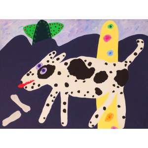 Angelo de Aquino - Rex em paisagens imaginárias - liquitex sobre tela. 1984 - 90 x 120.