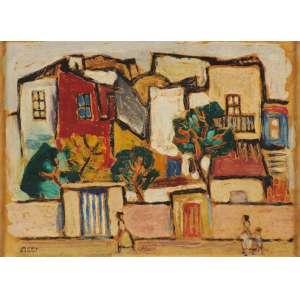 Mário Zanini - Casas e figuras osc - déc 60 30 x 40 - Participou da retrospectiva Mário Zanini, no Museu de arte contemporânea da Universidade de São Paulo etiqueta no verso.