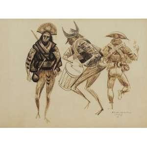Héctor Carybé - Cangaceiros desenho - 1954 50 x 65 - Desenho elaborado para cena do filme O cangaceiro de Lima Barreto, no qual Carybé participou como diretor artístico.