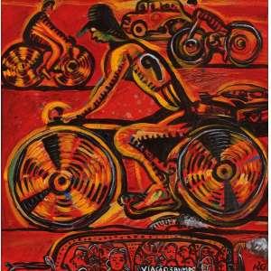 Rubens Gerchman - Morning bike ost - 2002 50 x 50 - Participou da exposição realizada na Galeria Renot, maio de 2004 Reproduzida no catálogo da mostra. Reproduzida à pág.105 da revista Veja, na coluna de Orlando Margarido Certificado de autenticidade assinado pelo artista. Obra integrou o cenário do programa Fantástico exibido pela Rede Globo.