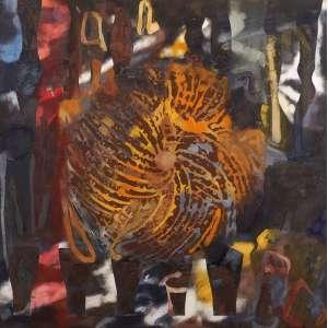 Carlos Vergara - Sem título monotipia, pigmentos e pintura sobre lona crua - 2004 180 x 180