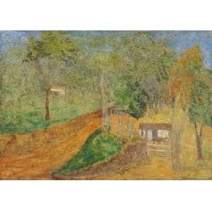 Francisco Rebolo - Interior de fazenda com casebre ose - 1969 65 x 90 - No verso, etiqueta da retrospectiva Rebolo 40 anos de arte, realizada na Fundação Cultural do Distrito Federal.
