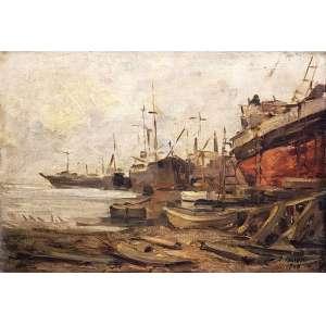 Arcângelo Ianelli - Embarcações ost - 1948 41 x 56 - Registrada no Instituto Ianelli