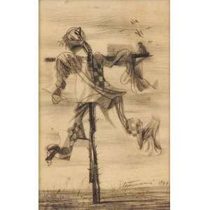 Cândido Portinari - Espantalho crayon sobre papel - 1947 34,5 x 24,5 - Reproduzida no catálogo Raisonné Vol. III, à pág 192. Registrada no projeto sob o código FCO 3719