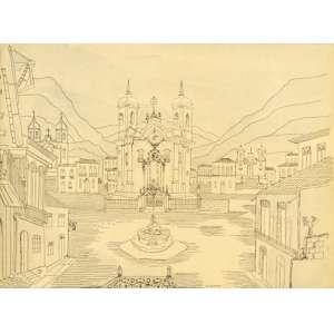 Alberto da Veiga Guignard - Ouro Preto desenho aquarelado - 29 x 38