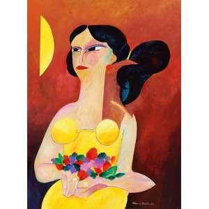 Aldemir Martins - Vendedora de flores ast - 1986 81 x 60