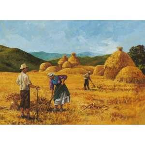 Pedro Weingartner - Colheita de trigo guache - 27 x 36 - Participou da exposição Pedro Weingartner, um artista entre o velho e o novo mundo, no Museu de Arte do Rio Grande do Sul em 2010