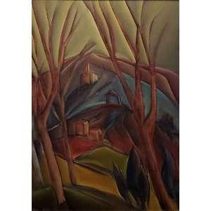 Carlos Bracher - Árvores e Igreja de São Francisco das Chagas ost - 1975 92 x 65