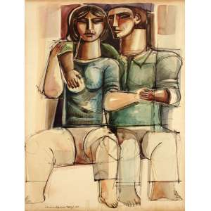 Álvaro Apocalypse - Casal nanquim aquarelado - 1979 65 x 50